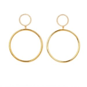 14kt Small Circle Diamond Hoop Earrings modern and Classic