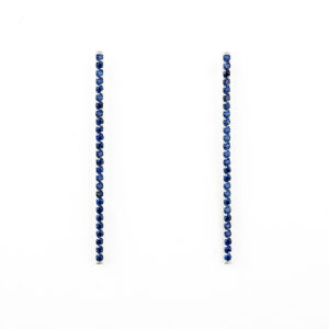 White Gold Bar Earrings with Blue Crystal Zirconia Stones