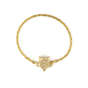 Yellow Gold Chain Ring with Diamond Star