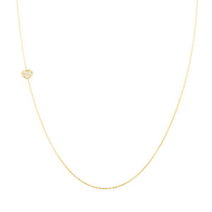 Yellow Gold Necklace with Diamond Heart