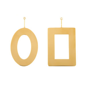 Yellow Gold Round and Square Earrings
